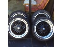"""18"""" Axe ex10 staggered deep dish alloys bbs style 8j fronts 9j rears OPEN TO OFFERS!!"""