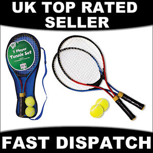 2 PLAYER TENNIS RACQUET SET TWO ALUMINIUM ME