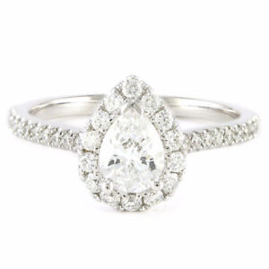14k White Gold Halo Diamond Engagement Ring (0.57 pear ctr) 3236