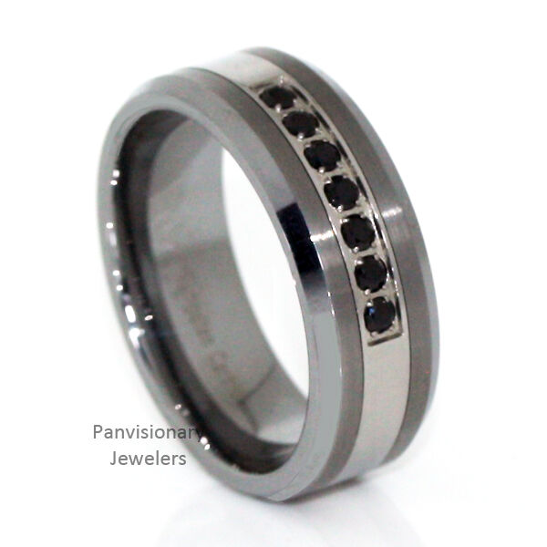 Tungsten Carbide Mens 8mm Ring 7 Stone Black Sapphire Cz ...