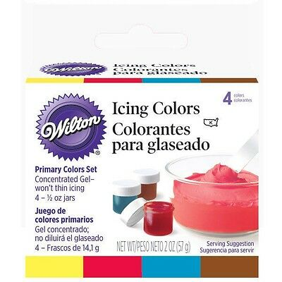 Wilton 4 Primary Icing Colors Set Kit Yellow Brown Red Blue Concentrate .5 -