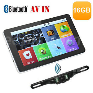 7'' 16GB Car GPS Navigation SAT NAV Navigator Map+Bluetooth AV-IN+Reverse Camera