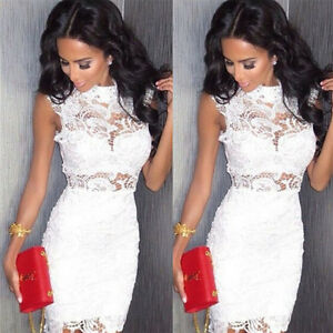 Sexy Women Bandage Bodycon Lace Evening Party Cocktail Summer Short Mini Dress
