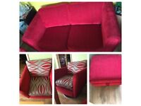 RED 3sit SOFA FOR SALE AND 2 armchairs + STOOL