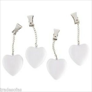 HEART TABLECLOTH WEIGHTS SET OF 4 METAL CLIP WEDDING BBQ PICNIC GARDEN DINING BN