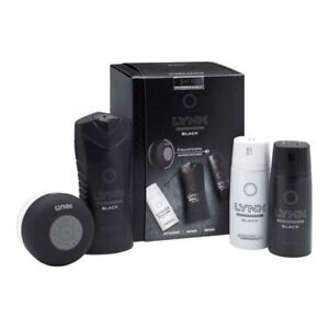 Lynx 3+1 Bluetooth Shower Speaker Gift Set with Trio Pack of Mens Body Products