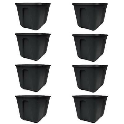 Plastic Storage Bins with Lids Box Set 8 Black Containers 18 Gal Stackable -