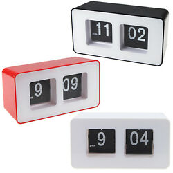 White Retro Auto Flip Clock Classic Stylish Modern Desk Wall Digital Clock Home