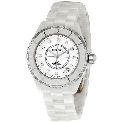 Chanel J12 Diamond White Ceramic Midsize Unisex Watch H1629