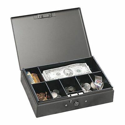 Steelmaster Heavy-duty Steel Low-profile Cash Box W6 Compartments Key Lock Gray