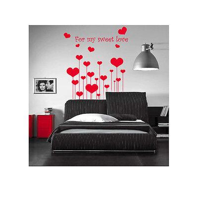 WALL STICKERS ADESIVO REGALO SAN VALENTINO CUORI CUORE HEART AMORE LOVE SWEET