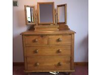Pine chest of Drawers with Detachable three way mirror.