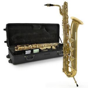 NEW Eb Baritone Saxophone with a classic gold body finish and Hard Case