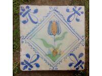 Antique 17th Century Dutch Tulip Tile.
