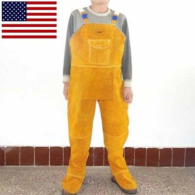 Cowhide Leather Welding Work Pants Safety Work Protective Cloth Anti-scald Coat