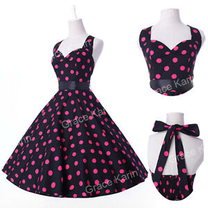 UK New Ladies Vtg 1950s style Polka Dot Print Rockabilly Cotton Swing Tea Dress