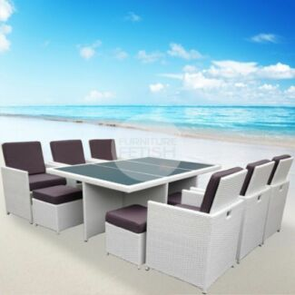 NEW White 13 Pce Outdoor Dining Set - Wicker with High Back Seats Nerang Gold Coast West Preview