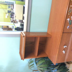 Solid Oak 6 Drawer Dresser and Small Hutch