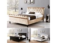 🔥🔥AMAZING OFFER🔥🔥FREE DELIVERY🔥 New Double /King Diamonte Crushed Velvet Sleigh Bed & Mattress