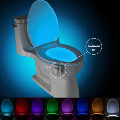 8Color Toilet Night Light LED Motion Sensor Activated WC Bathroom Seat Bowl Lamp