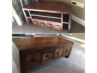 Corner Tv cabinet and coffee table