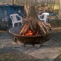 Cone liner fire pits off gravel crusher