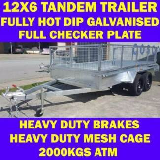 12x6 tandem trailer fully galvanised heavy duty trailer w cage 1