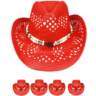 Cowgirl Hat (HIGH QUALITY WOMEN COWBOY HAT Western RED HAT MEN Shapeable Cap Cowgirl)