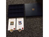 2 queens 90th birthday coins both with COA in a presentation box