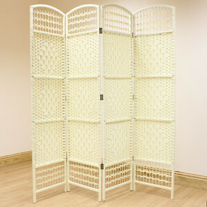 cream 4 panel wicker room divider hand made privacy screen separator