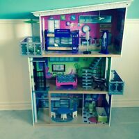 Wooden Barbie doll house w/extra Barbie furniture