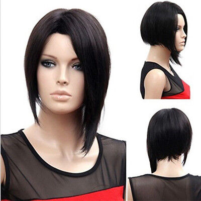 Lady Girl Bob Wig Women's Short Straight Bangs Full Hair Wigs Cosplay Halloween