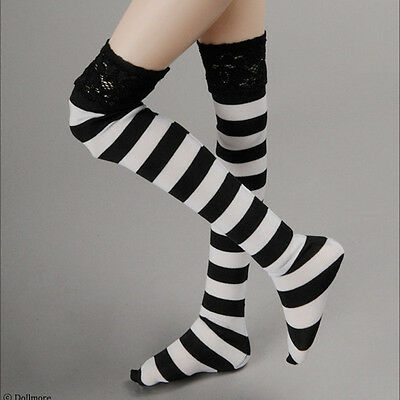 """Striped Middle Knee Stocking B/&W Dollmore 13/"""" doll Narsha size"""
