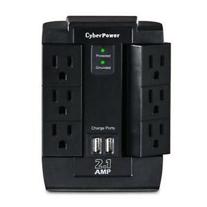 CyberPower Professional 6 Swivel Outlets Surge with 1200J, 2-2.1A USB & Wall Tap - CSP600WSU