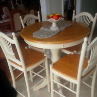 PUB STYLE DISTRESSED WOOD TABLE & CHAIRS SET