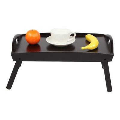 Wooden Foldable Breakfast in Bed Serving Tray Folding Legs Food Table Brown