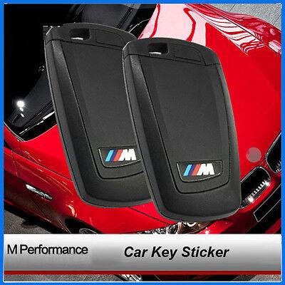 2 Pcs New Car Key Fob M Sports Performance Emblem Badge Decal Sticker All Series
