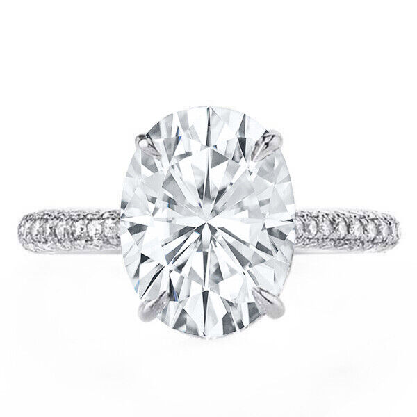 GIA Certified Diamond Engagement Pave Ring 4.26 CTW Oval & Round 18k White Gold