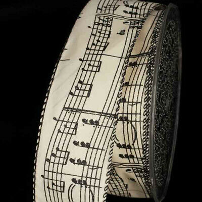 Wired Taffeta Ivory Ribbon with Black Music Notes - 10 Yard Spool - 1.5