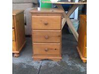 Pine 3 draw bedside