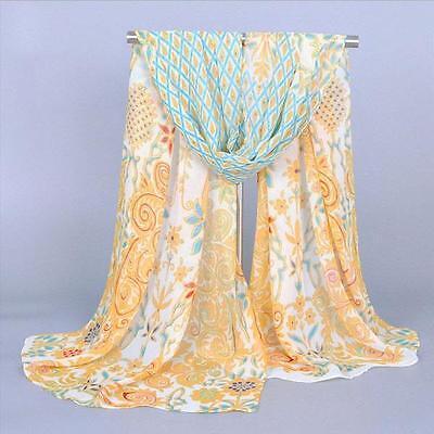 New Women Fashion Silk Peacock Printed Long Soft Chiffon Scarf Wrap Shawl Stole