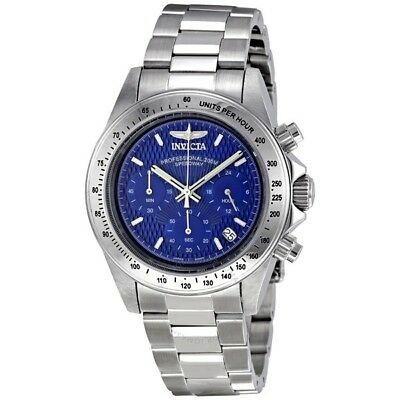 New Mens Invicta 9329 Speedway Chronograph Blue Dial Steel Bracelet Watch