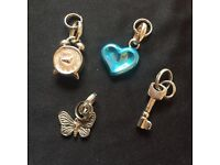 4 HALLMARKED LINKS OF LONDON REAL SILVER CHARMS SWEETIE BRACRLET KEY CLOCK HEART BUTTERFLY