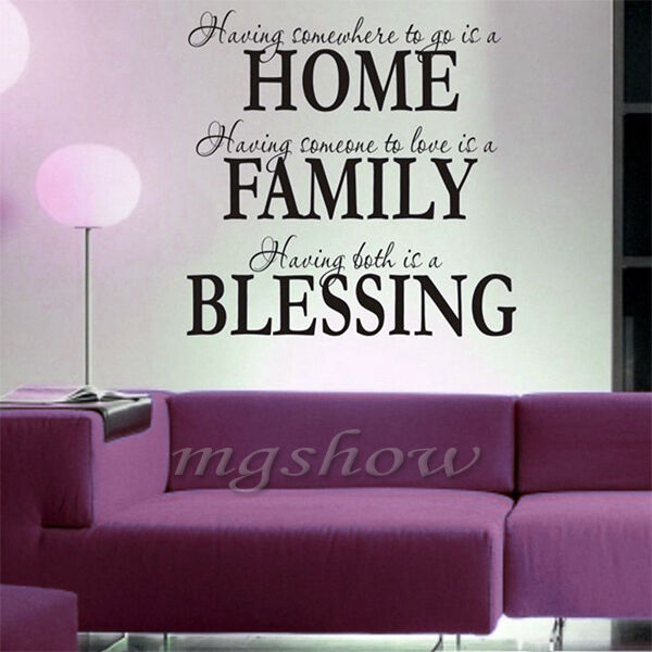 Home family blessing Wall Quotes decal Removable stickers decor Vinyl DIY Art UK