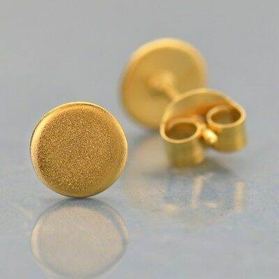 24k Stud (24K Gold Vermeil Circle Dot Minimalist Simple Modern Stud Post Earrings -)