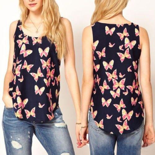 Elegant Women Chiffon Sleeveless Vest Butterfly Print Tank Tops Blouses T-shirt