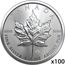 100 oz | 100 x 1 oz 2019 Silver Maple Leaf Coin - RCM - .9999 Ag