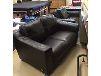 DFS sofas x2 two (2) seaters/ brown/ black