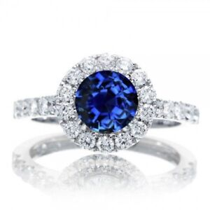 1.5 Carat Round Classic Halo Sapphire and Diamond Engagement Rin