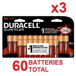 3 NEW 20PK DURACELL QUANTUM AA 98884044 ASSTD PACKS EQUAL TO 60PIECES - BATTERY EXP 2018-2025 BATTERIES